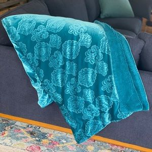 Other - Blue Microfiber Floral Embossed Throw Blanket